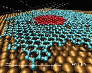 Fig. 1. Molecular dynamics simulation of graphene growth on copper. Large golden balls: copper; small red balls: initial graphene island; blue balls: deposited carbon graphene.